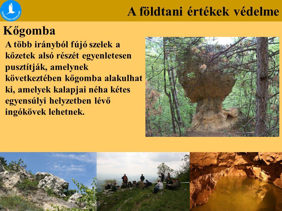 A földtani értékek védelme Kőgomba A több irányból fújó szelek a kőzetek alsó részét egyenletesen pusztítják, amelynek következtében kőgomba alakulhat