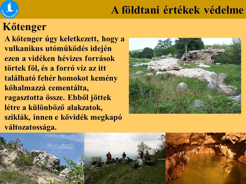 A földtani értékek védelme Kőtenger A kőtenger úgy keletkezett, hogy a vulkanikus utóműködés idején ezen a vidéken hévizes források törtek föl, és a f