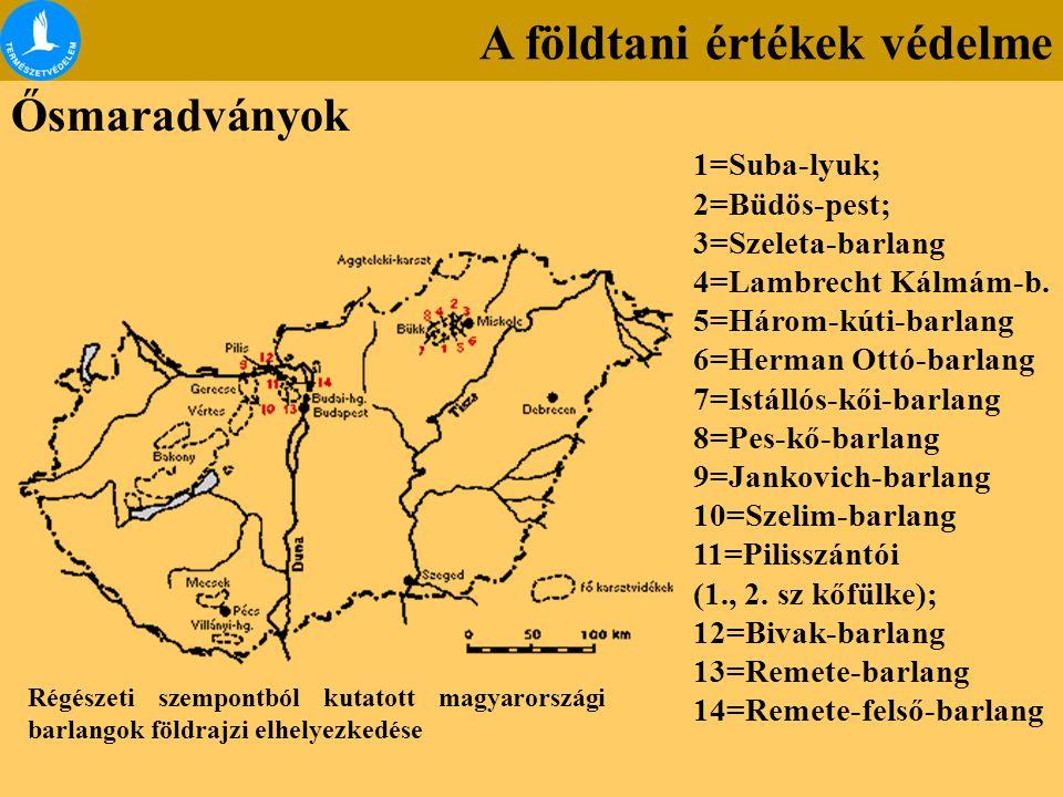 Régészeti szempontból kutatott magyarországi barlangok földrajzi elhelyezkedése 1=Suba-lyuk; 2=Büdös-pest; 3=Szeleta-barlang 4=Lambrecht Kálmám-b. 5=H