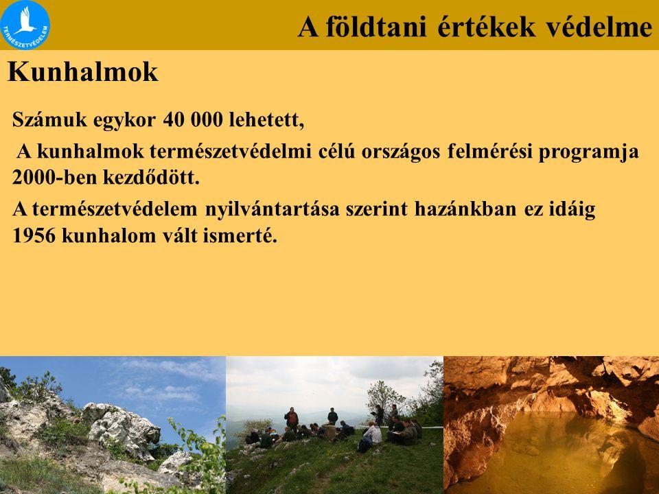 A földtani értékek védelme Kunhalmok Számuk egykor 40 000 lehetett, A kunhalmok természetvédelmi célú országos felmérési programja 2000-ben kezdődött.