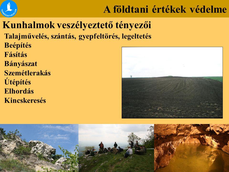 A földtani értékek védelme Kunhalmok veszélyeztető tényezői Talajművelés, szántás, gyepfeltörés, legeltetés Beépítés Fásítás Bányászat Szemétlerakás Ú