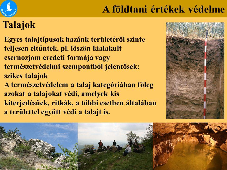 A földtani értékek védelme Talajok Egyes talajtípusok hazánk területéről szinte teljesen eltűntek, pl. löszön kialakult csernozjom eredeti formája vag