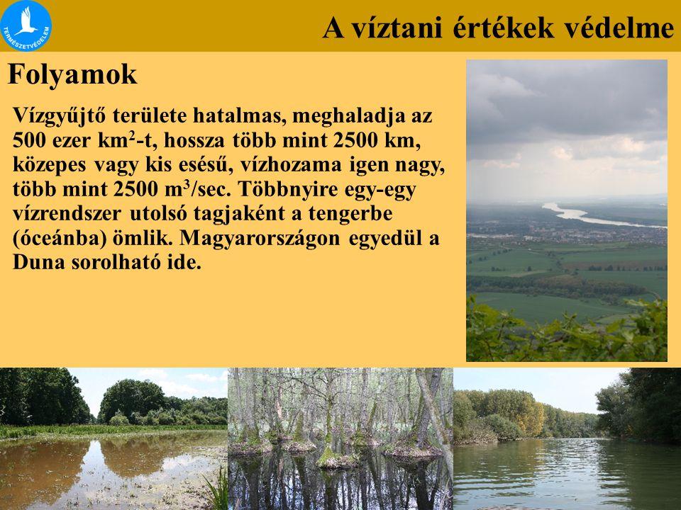A víztani értékek védelme Folyamok Vízgyűjtő területe hatalmas, meghaladja az 500 ezer km 2 -t, hossza több mint 2500 km, közepes vagy kis esésű, vízh