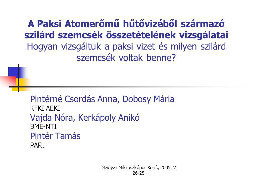 Magyar Mikroszkópos Konf., 2005. V. 26-28. A Paksi Atomerőmű hűtővizéből származó szilárd szemcsék összetételének vizsgálatai Hogyan vizsgáltuk a paks