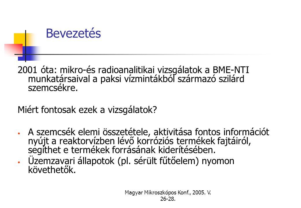 Magyar Mikroszkópos Konf., 2005. V. 26-28. Bevezetés 2001 óta: mikro-és radioanalitikai vizsgálatok a BME-NTI munkatársaival a paksi vízmintákból szár