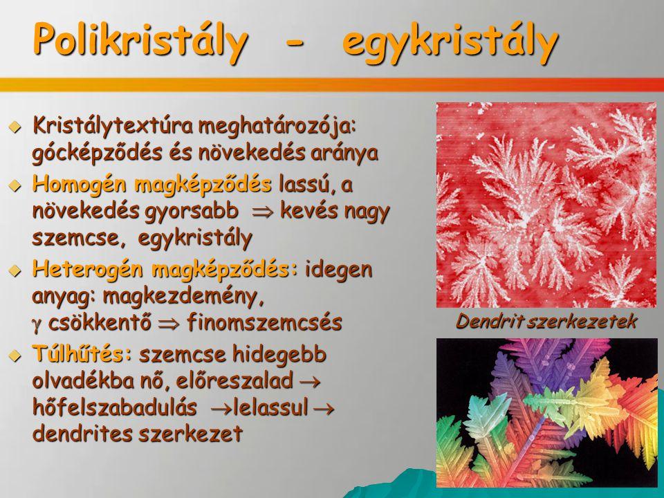 Kristályosodási formák  Poliéderes  dendrites  szferolitos