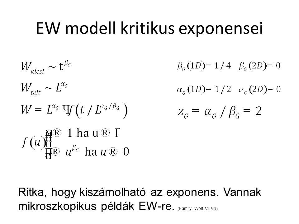 EW modell kritikus exponensei Ritka, hogy kiszámolható az exponens.