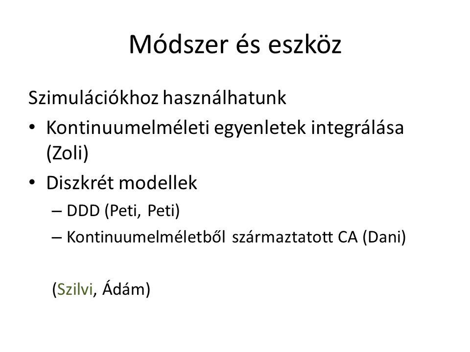 Módszer és eszköz Szimulációkhoz használhatunk Kontinuumelméleti egyenletek integrálása (Zoli) Diszkrét modellek – DDD (Peti, Peti) – Kontinuumelméletből származtatott CA (Dani) (Szilvi, Ádám)