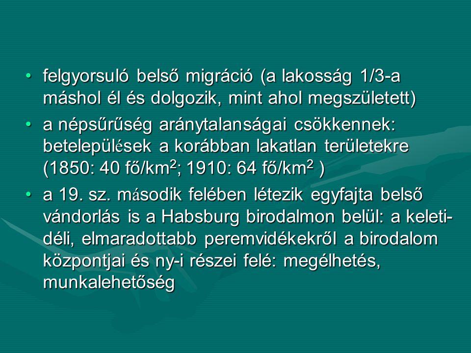 felgyorsuló belső migráció (a lakosság 1/3-a máshol él és dolgozik, mint ahol megszületett)felgyorsuló belső migráció (a lakosság 1/3-a máshol él és d