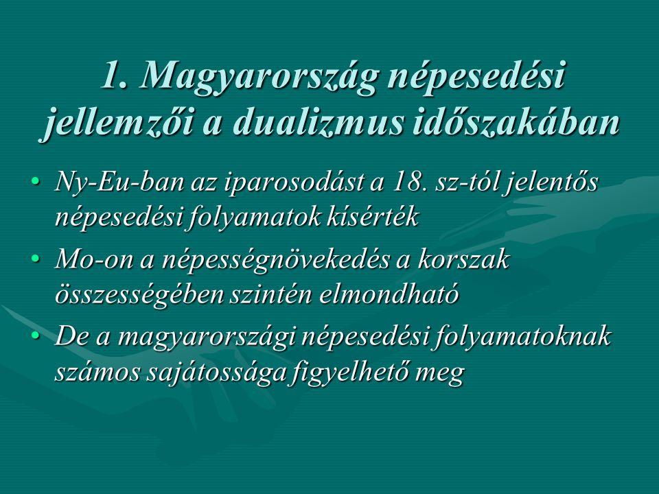 1. Magyarország népesedési jellemzői a dualizmus időszakában Ny-Eu-ban az iparosodást a 18. sz-tól jelentős népesedési folyamatok kísértékNy-Eu-ban az
