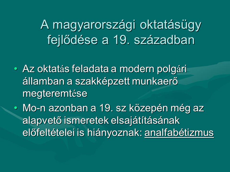 A magyarországi oktatásügy fejlődése a 19. században Az oktat á s feladata a modern polg á ri államban a szakképzett munkaerő megteremt é seAz oktat á