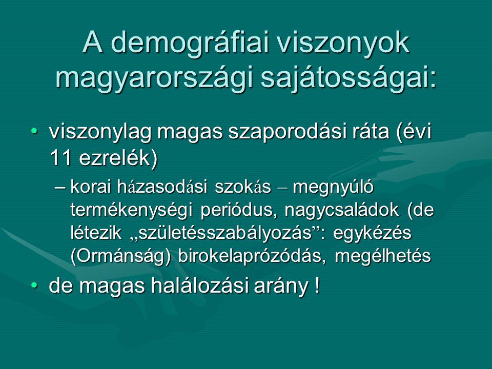 A demográfiai viszonyok magyarországi sajátosságai: viszonylag magas szaporodási ráta (évi 11 ezrelék)viszonylag magas szaporodási ráta (évi 11 ezrelé