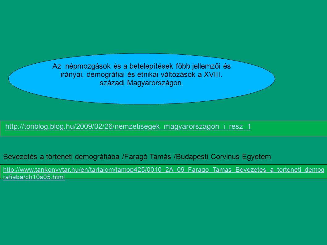 Az népmozgások és a betelepítések főbb jellemzői és irányai, demográfiai és etnikai változások a XVIII. századi Magyarországon. http://toriblog.blog.h