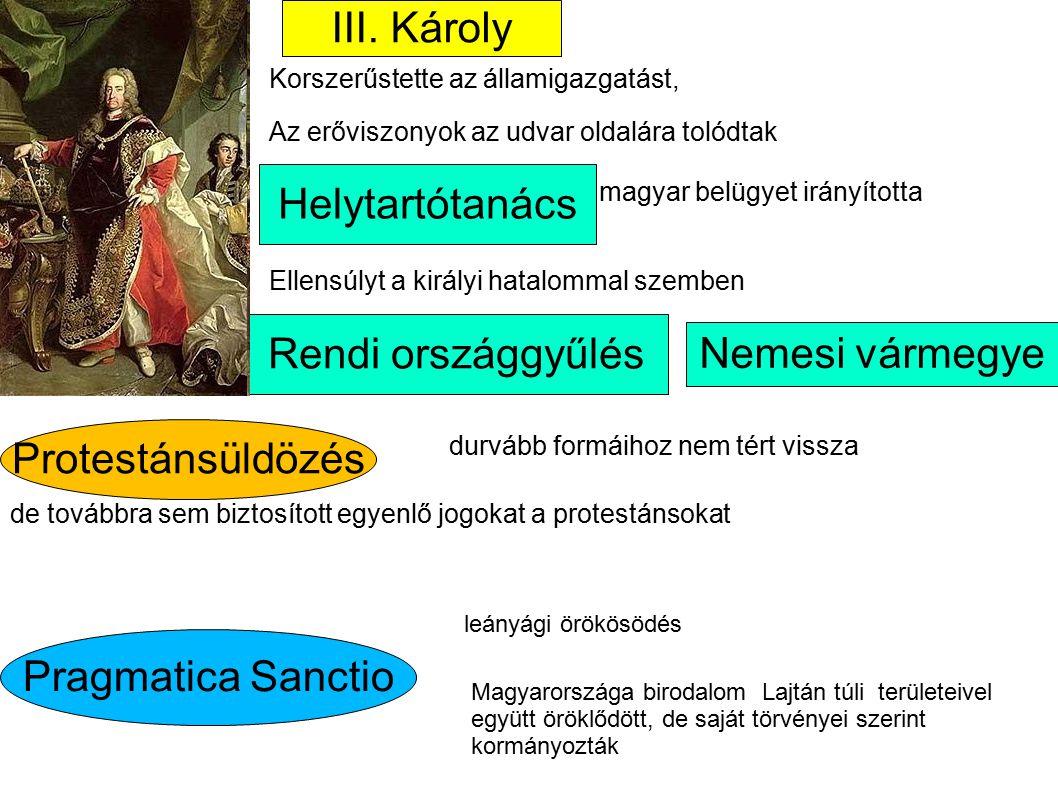 III. Károly Helytartótanács magyar belügyet irányította Protestánsüldözés Korszerűstette az államigazgatást, Ellensúlyt a királyi hatalommal szemben R