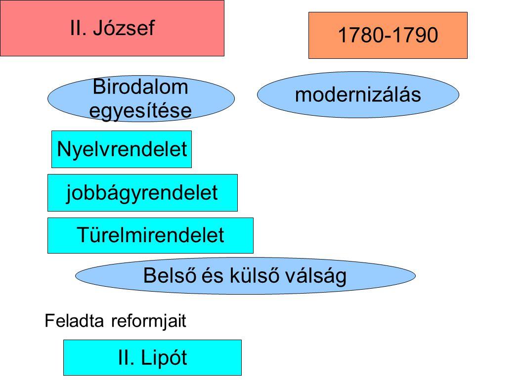 Türelmirendelet Birodalom egyesítése modernizálás II. József II. Lipót 1780-1790 jobbágyrendelet Nyelvrendelet Belső és külső válság Feladta reformjai