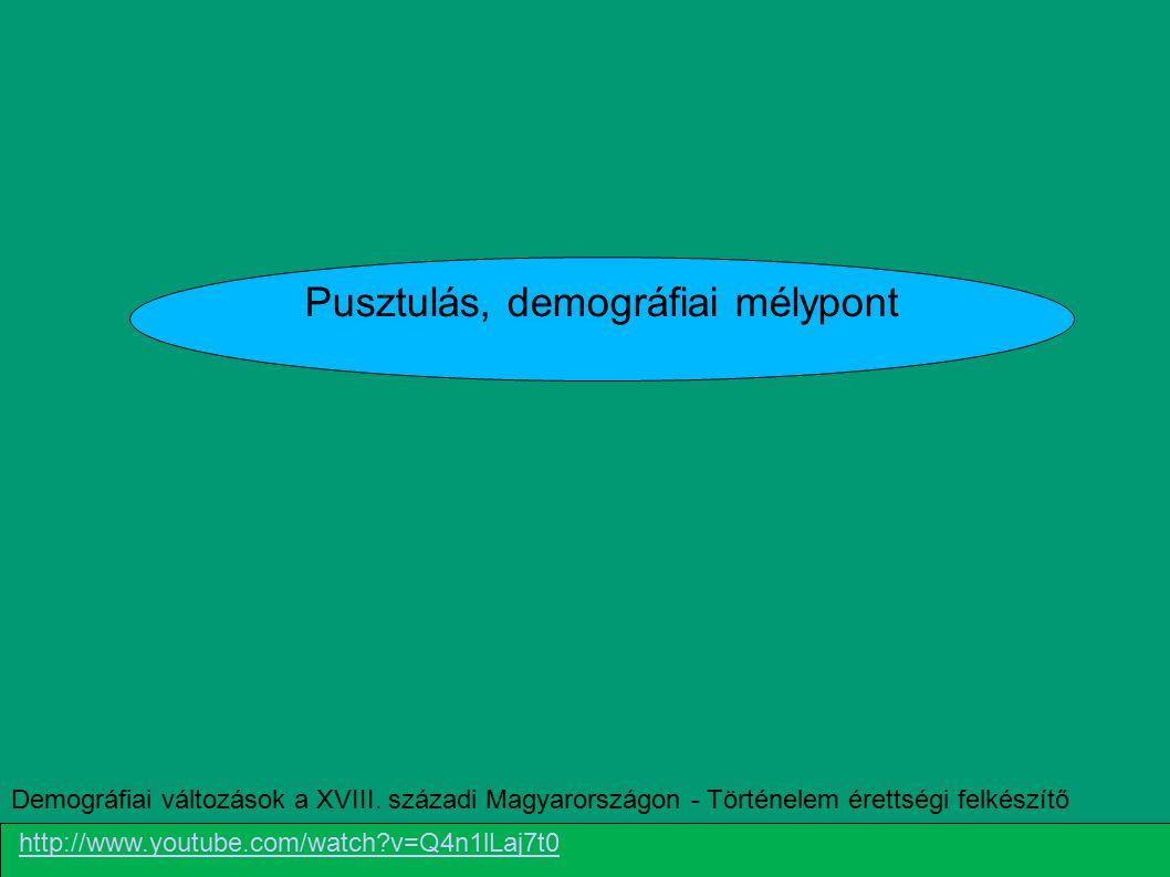 Pusztulás, demográfiai mélypont Demográfiai változások a XVIII. századi Magyarországon - Történelem érettségi felkészítő http://www.youtube.com/watch?