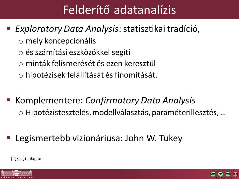 Felderítő adatanalízis  Exploratory Data Analysis: statisztikai tradíció, o mely koncepcionális o és számítási eszközökkel segíti o minták felismerését és ezen keresztül o hipotézisek felállítását és finomítását.
