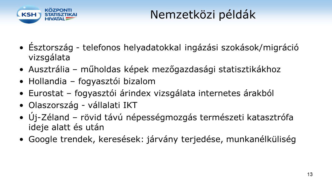 Nemzetközi példák Észtország - telefonos helyadatokkal ingázási szokások/migráció vizsgálata Ausztrália – műholdas képek mezőgazdasági statisztikákhoz