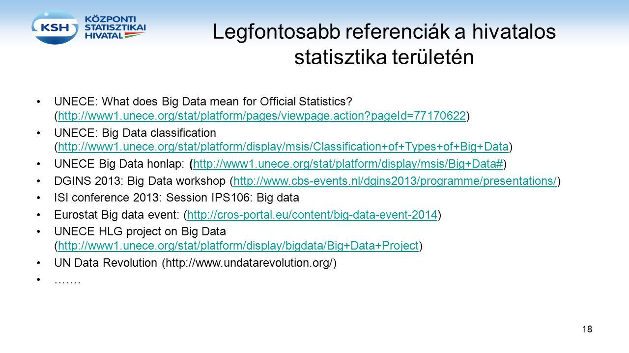 Legfontosabb referenciák a hivatalos statisztika területén UNECE: What does Big Data mean for Official Statistics? (http://www1.unece.org/stat/platfor
