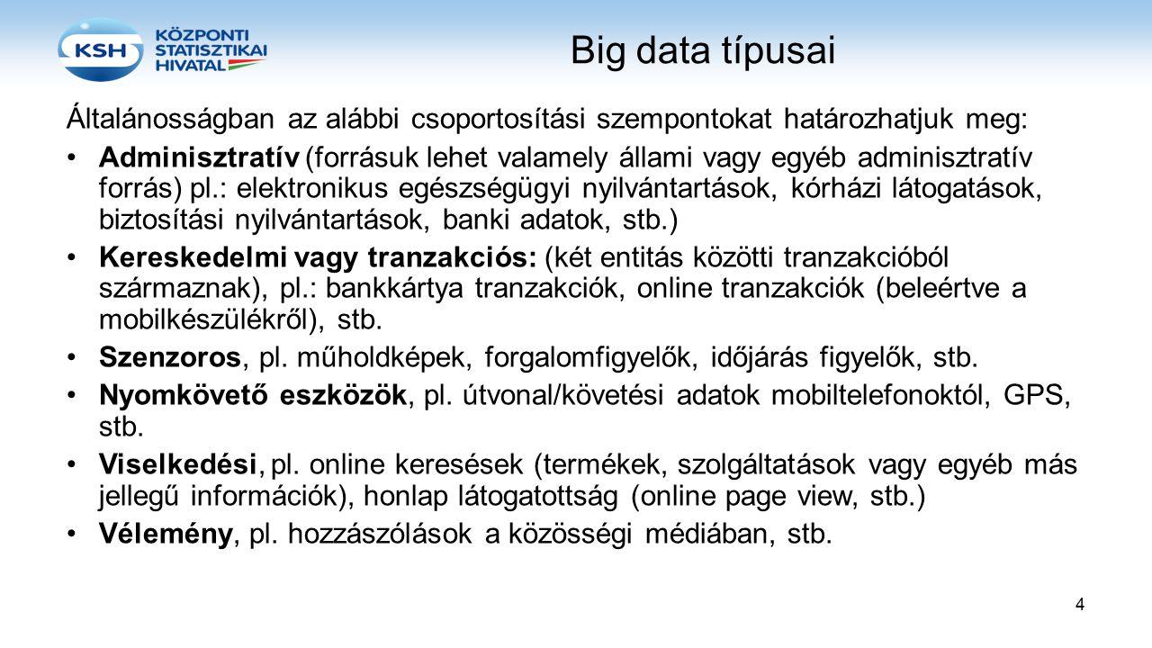 Big data típusai Általánosságban az alábbi csoportosítási szempontokat határozhatjuk meg: Adminisztratív (forrásuk lehet valamely állami vagy egyéb ad