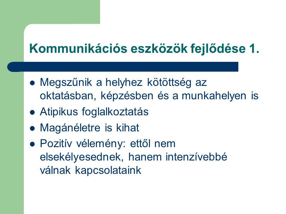 Kommunikációs eszközök fejlődése 2.