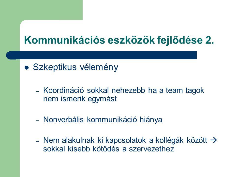 Kommunikációs eszközök fejlődése 2. Szkeptikus vélemény – Koordináció sokkal nehezebb ha a team tagok nem ismerik egymást – Nonverbális kommunikáció h