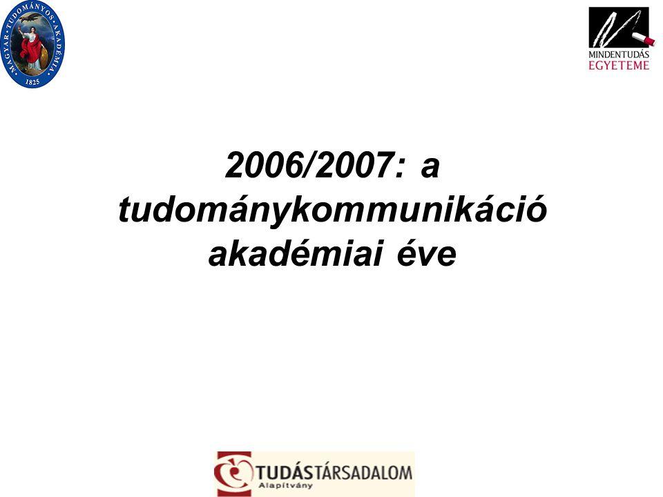 2006/2007: a tudománykommunikáció akadémiai éve
