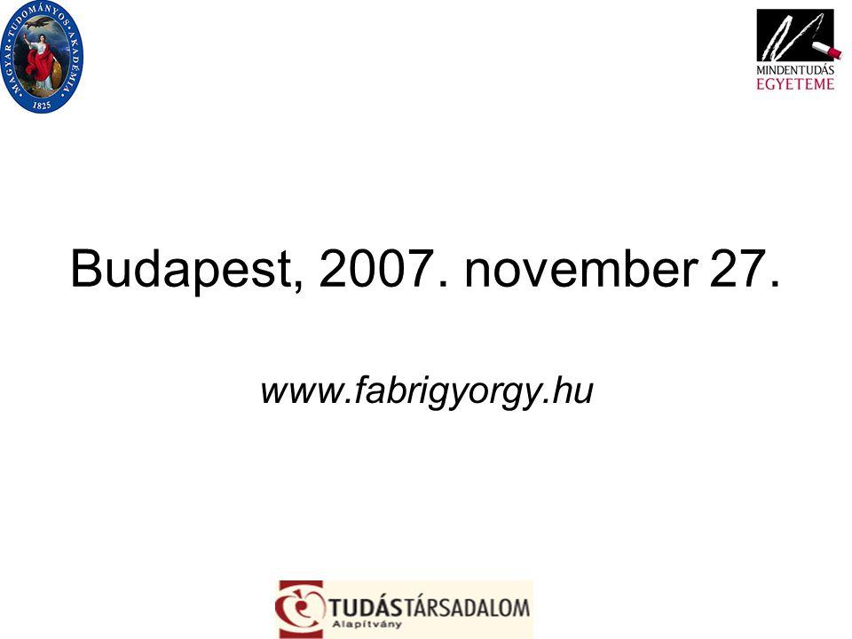 Budapest, 2007. november 27. www.fabrigyorgy.hu