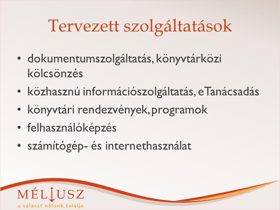 Tervezett szolgáltatások dokumentumszolgáltatás, könyvtárközi kölcsönzés közhasznú információszolgáltatás, eTanácsadás könyvtári rendezvények, program