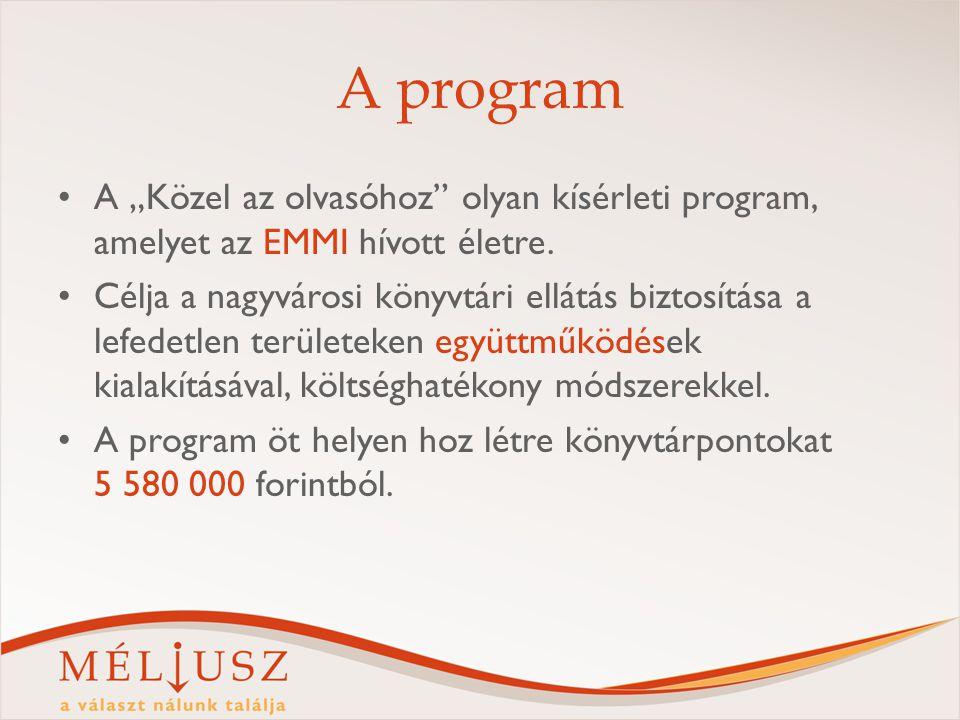 """A program A """"Közel az olvasóhoz"""" olyan kísérleti program, amelyet az EMMI hívott életre. Célja a nagyvárosi könyvtári ellátás biztosítása a lefedetlen"""