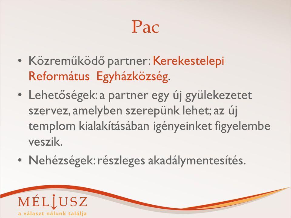 Pac Közreműködő partner: Kerekestelepi Református Egyházközség. Lehetőségek: a partner egy új gyülekezetet szervez, amelyben szerepünk lehet; az új te