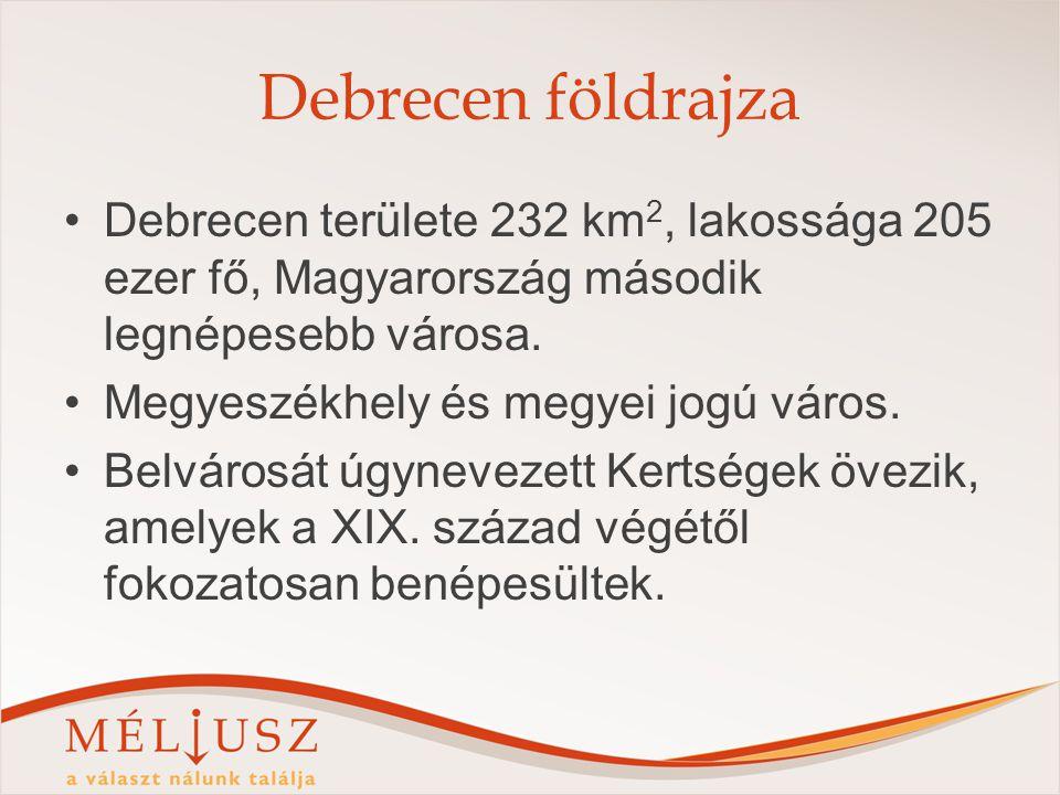 Debrecen földrajza Debrecen területe 232 km 2, lakossága 205 ezer fő, Magyarország második legnépesebb városa.