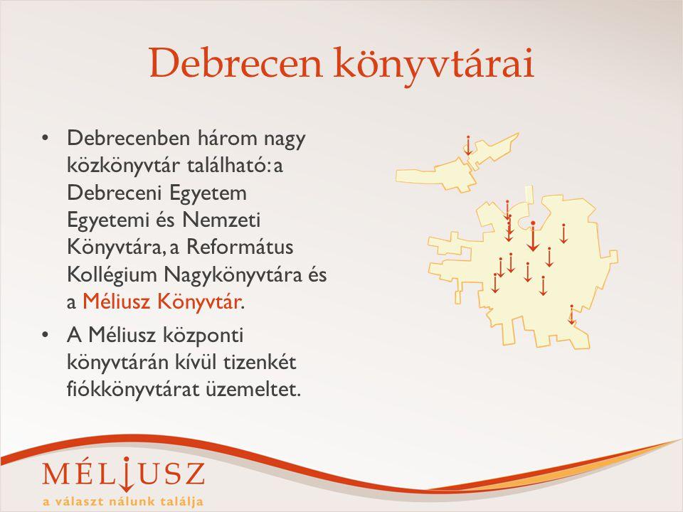 Debrecen könyvtárai Debrecenben három nagy közkönyvtár található: a Debreceni Egyetem Egyetemi és Nemzeti Könyvtára, a Református Kollégium Nagykönyvtára és a Méliusz Könyvtár.