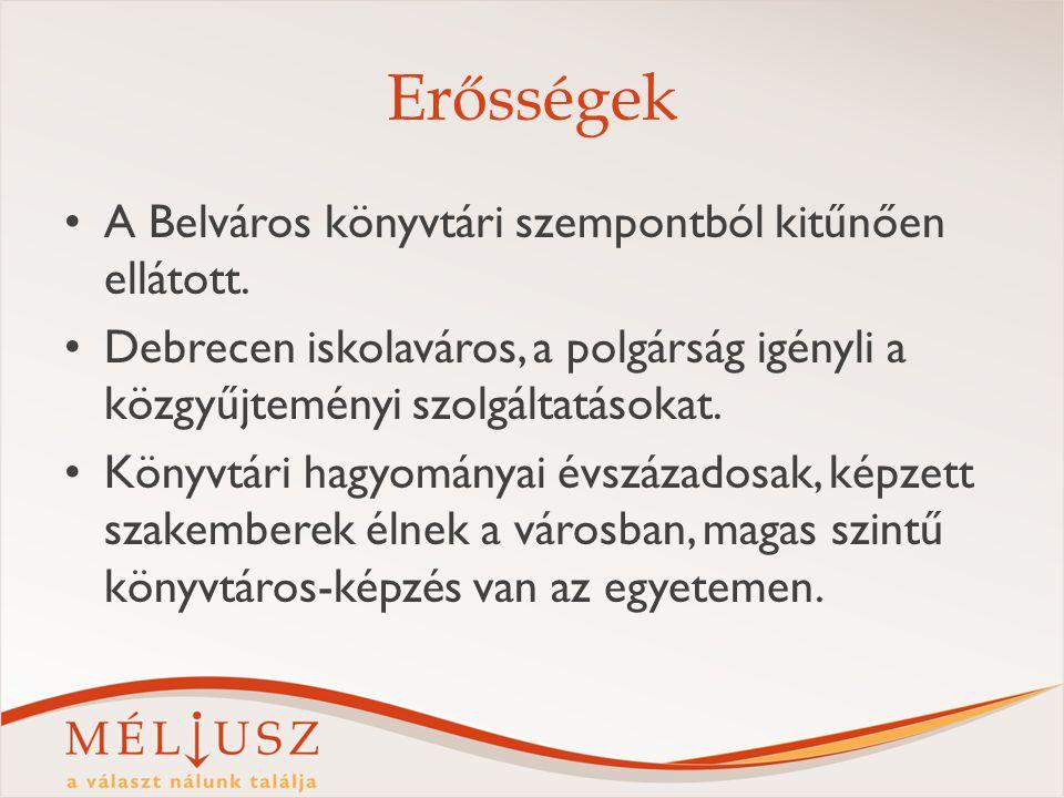 Erősségek A Belváros könyvtári szempontból kitűnően ellátott. Debrecen iskolaváros, a polgárság igényli a közgyűjteményi szolgáltatásokat. Könyvtári h