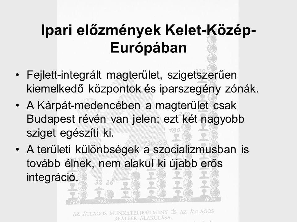 Ipari előzmények Kelet-Közép- Európában Fejlett-integrált magterület, szigetszerűen kiemelkedő központok és iparszegény zónák.