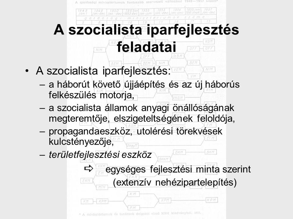 A szocialista iparfejlesztés feladatai A szocialista iparfejlesztés: –a háborút követő újjáépítés és az új háborús felkészülés motorja, –a szocialista államok anyagi önállóságának megteremtője, elszigeteltségének feloldója, –propagandaeszköz, utolérési törekvések kulcstényezője, –területfejlesztési eszköz  egységes fejlesztési minta szerint  (extenzív nehézipartelepítés)