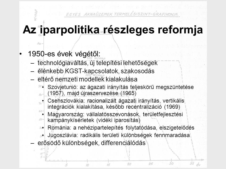 Az iparpolitika részleges reformja 1950-es évek végétől: –technológiaváltás, új telepítési lehetőségek –élénkebb KGST-kapcsolatok, szakosodás –eltérő nemzeti modellek kialakulása Szovjetunió: az ágazati irányítás teljeskörű megszüntetése (1957), majd újraszervezése (1965) Csehszlovákia: racionalizált ágazati irányítás, vertikális integrációk kialakítása, később recentralizáció (1969) Magyarország: vállalatösszevonások, területfejlesztési kampánykísérletek (vidéki iparosítás) Románia: a nehézipartelepítés folytatódása, elszigetelődés Jugoszlávia: radikális területi különbségek fennmaradása –erősödő különbségek, differenciálódás