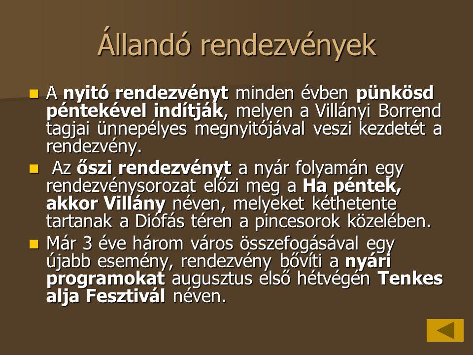 Állandó rendezvények A nyitó rendezvényt minden évben pünkösd péntekével indítják, melyen a Villányi Borrend tagjai ünnepélyes megnyitójával veszi kez