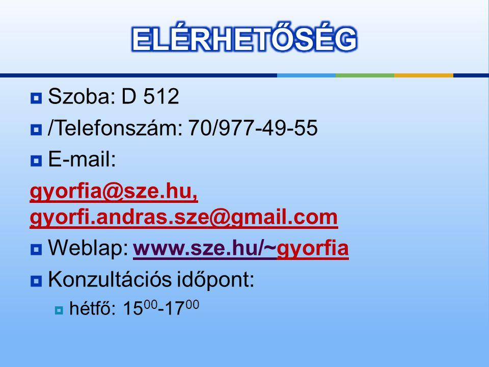  Szoba: D 512  /Telefonszám: 70/977-49-55  E-mail: gyorfia@sze.hu, gyorfi.andras.sze@gmail.com  Weblap: www.sze.hu/~gyorfiawww.sze.hu/~  Konzultációs időpont:  hétfő: 15 00 -17 00