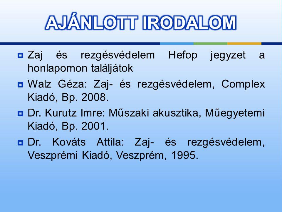  Zaj és rezgésvédelem Hefop jegyzet a honlapomon találjátok  Walz Géza: Zaj- és rezgésvédelem, Complex Kiadó, Bp.