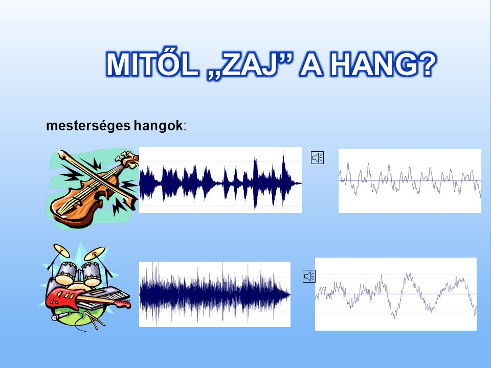  Mesterséges hang: valamilyen ember alkotta készülék vagy berendezés működése közben keletkezik, vagy ezek működtetésével, megszólaltatásával kelthet