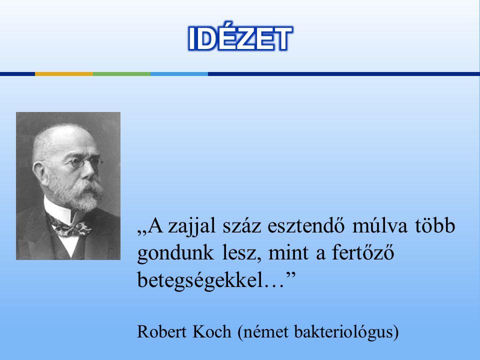 """""""A zajjal száz esztendő múlva több gondunk lesz, mint a fertőző betegségekkel… Robert Koch (német bakteriológus)"""