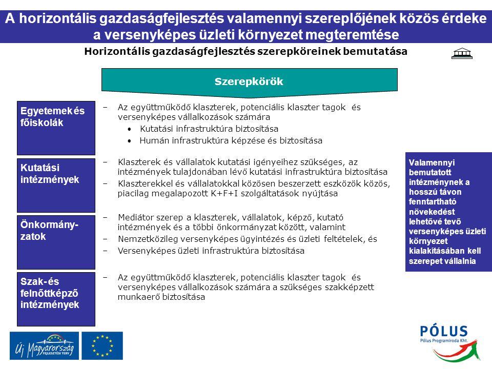 A horizontális gazdaságfejlesztés valamennyi szereplőjének közös érdeke a versenyképes üzleti környezet megteremtése Horizontális gazdaságfejlesztés s