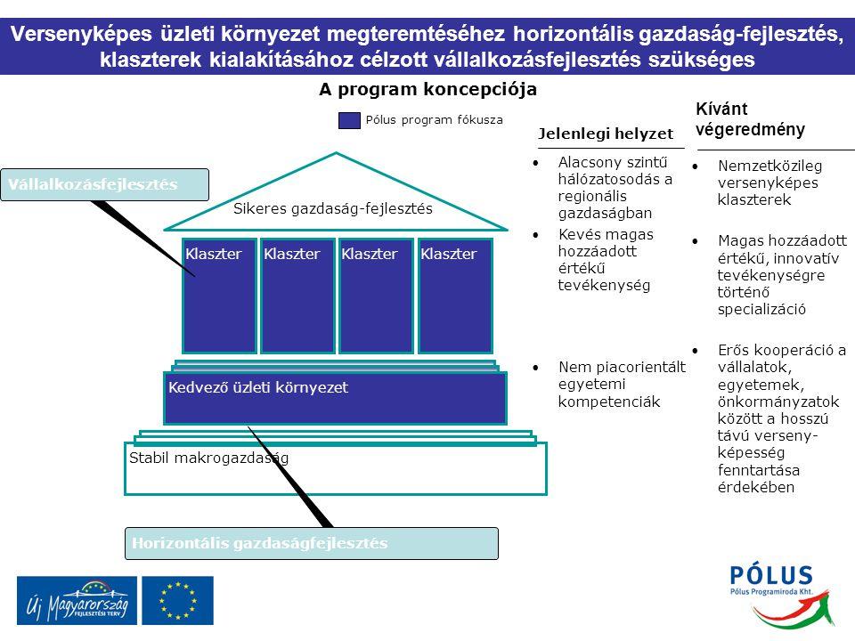 Versenyképes üzleti környezet megteremtéséhez horizontális gazdaság-fejlesztés, klaszterek kialakításához célzott vállalkozásfejlesztés szükséges A pr
