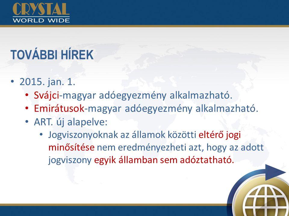 TOVÁBBI HÍREK 2015. jan. 1. Svájci-magyar adóegyezmény alkalmazható. Emirátusok-magyar adóegyezmény alkalmazható. ART. új alapelve: Jogviszonyoknak az