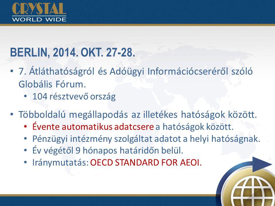 BERLIN, 2014. OKT. 27-28. 7. Átláthatóságról és Adóügyi Információcseréről szóló Globális Fórum. 104 résztvevő ország Többoldalú megállapodás az illet