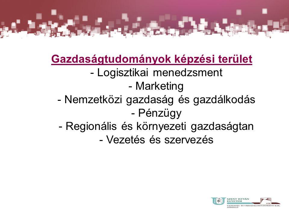 Gazdaságtudományok képzési terület - Logisztikai menedzsment - Marketing - Nemzetközi gazdaság és gazdálkodás - Pénzügy - Regionális és környezeti gazdaságtan - Vezetés és szervezés