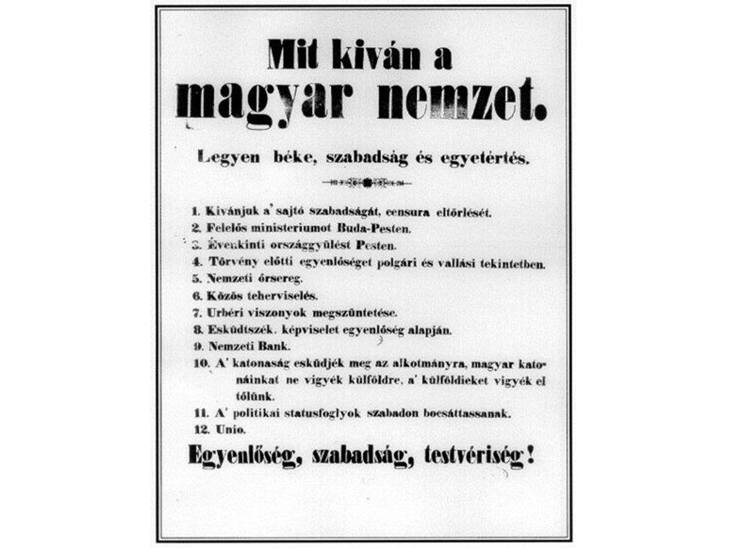 Az első független magyar kormány 1848 március 17-én alakult meg, az európaszerte kitört forradalmak hatására, a császár és király beleegyezésével.
