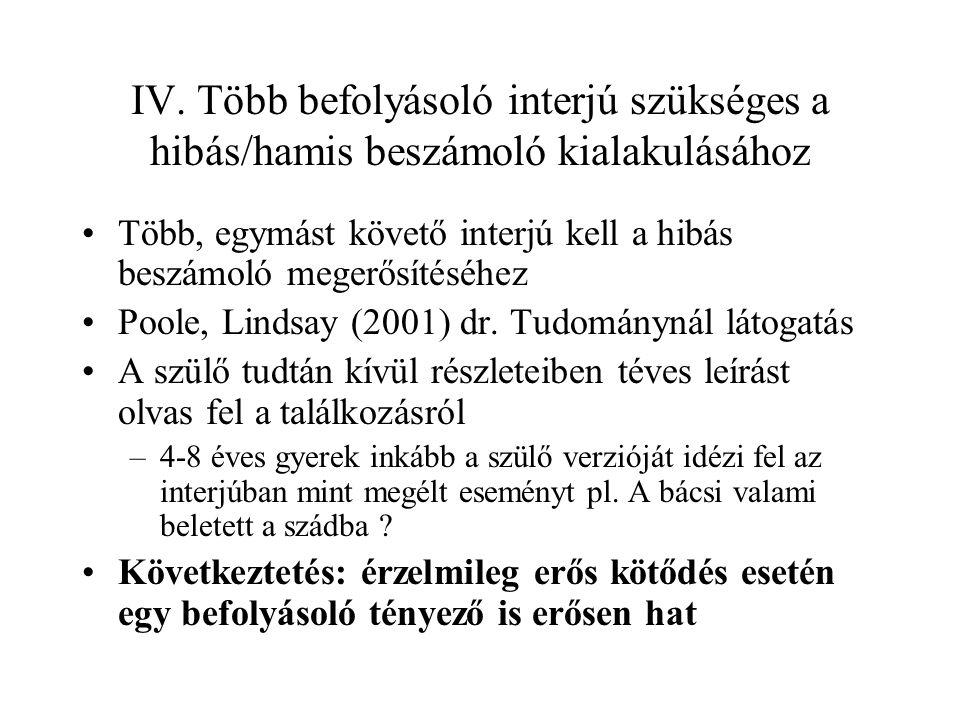 IV. Több befolyásoló interjú szükséges a hibás/hamis beszámoló kialakulásához Több, egymást követő interjú kell a hibás beszámoló megerősítéséhez Pool
