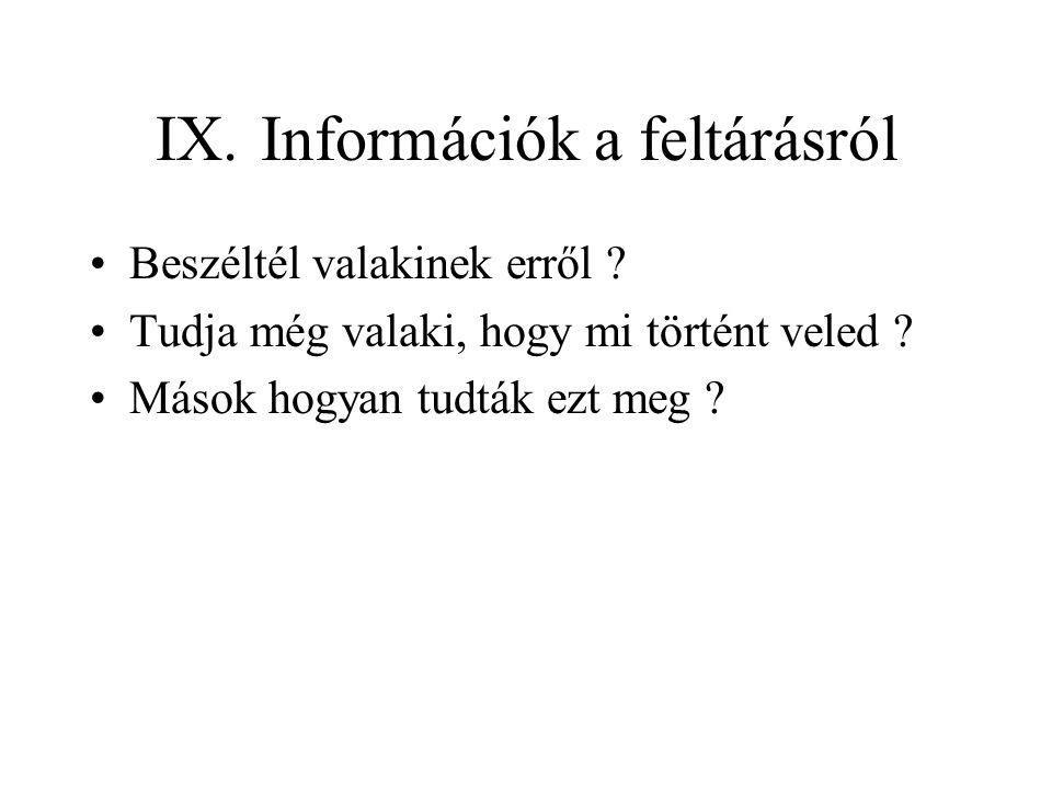 IX.Információk a feltárásról Beszéltél valakinek erről .